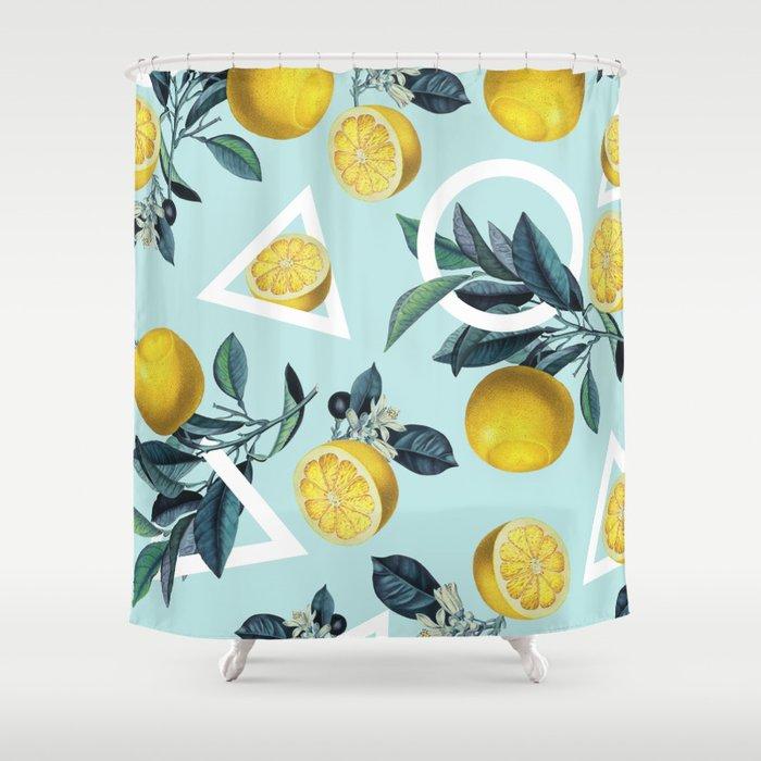 Geometric and Lemon pattern III Shower Curtain by burcukorkmazyurek
