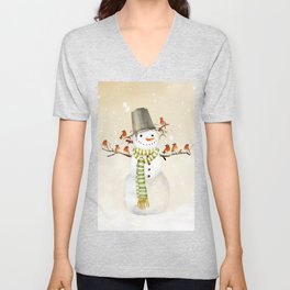 Snowman and Birds Unisex V-Neck