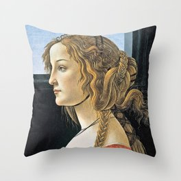 Sandro Botticelli -  Portrait Of Simonetta Vespucci Throw Pillow