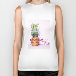 Trendy pineapple with pink sunglasses and flip flops Biker Tank