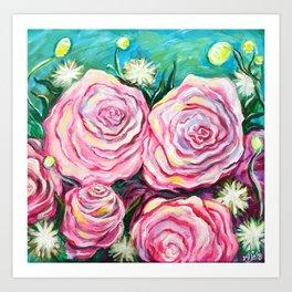 May Tea Roses Art Print