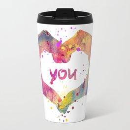 Heart Watercolor Art Print Love Hands Valentine's Day Travel Mug