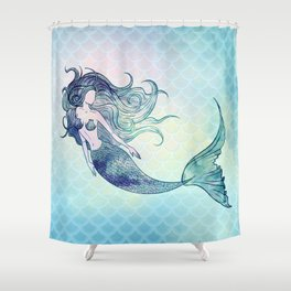 Watercolor Mermaid Shower Curtain