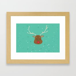 Merry Christmas and a Happy New Year Reindeer Print Framed Art Print