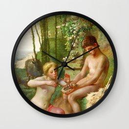 12,000pixel-500dpi - Jean-Francois Millet - Spring, Daphnis And Chloe - Digital Remastered Edition Wall Clock