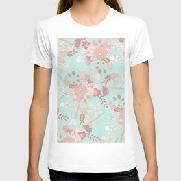 Vintage green pastel coral white rustic floral T-shirt