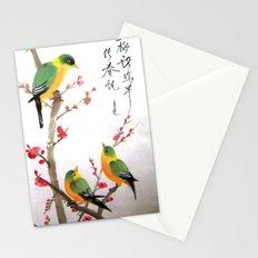 green bird chatting Stationery Cards