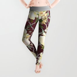 Country chic burgundy white quatrefoil watercolor floral Leggings
