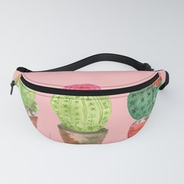 Three Cacti watercolor pink Fanny Pack
