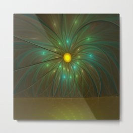 Fantasy Flower Fractal, Abstract And Luminous Metal Print