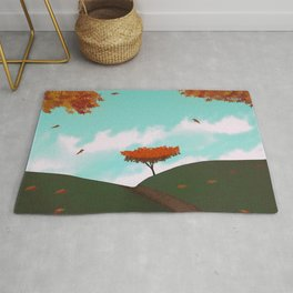 Fall/Autumn Landscape - Illustration Art #ArtofGaneneK Leaves Rug