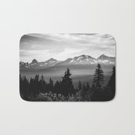 Morning in the Mountains Black and White Bath Mat