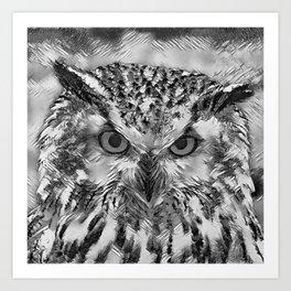 AnimalArtBW_Owl_20170918_by_JAMColorsSpecial Art Print