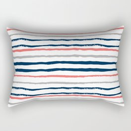 Minimal stripes painted stripe pattern navy modern trendy color palette nursery Rectangular Pillow