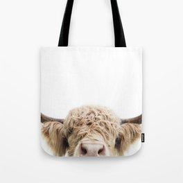 Peeking Highland Cow Tote Bag