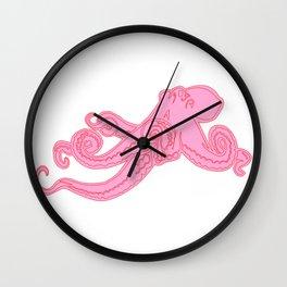 Kawaii steampunk octopus kraken squid sea monster vintage takoyaki cute pink preppy nautical print Wall Clock