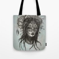 witch Tote Bags featuring witch by ASTRA ZERO
