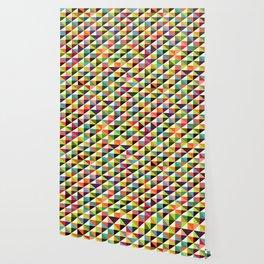 Geometric Pattern 86 (colorful mid-century triangle) Wallpaper