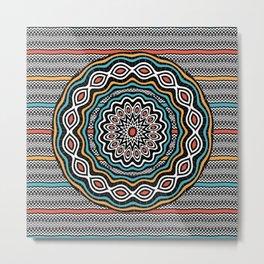 Wavy patterns mandala Metal Print