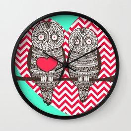 Owl Love Red & Mint Green Print Home Decor Wall Clock