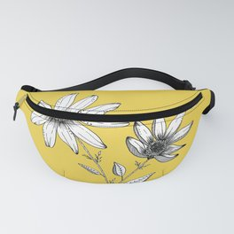 Wildflower line drawing | Botanical Art Fanny Pack