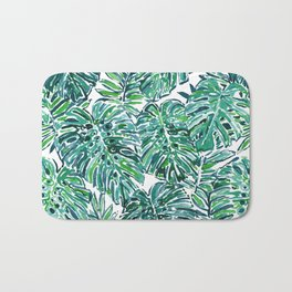 JUNGLE VIBES Green Tropical Monstera Leaves Bath Mat
