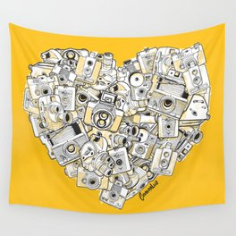 Camera Heart - on yellow Wall Tapestry