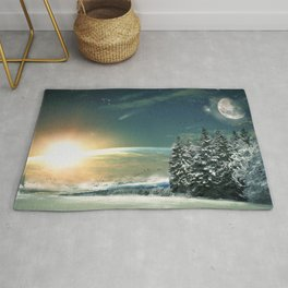 Winter Village At Night With Globus Sunrise At Horizon Ultra HD Rug