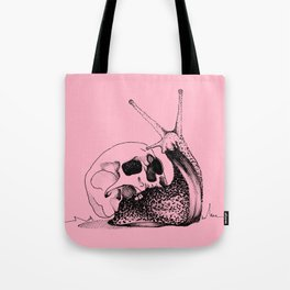 This Skull Is My Home (Snail & Skull) - Blush Pink & Charcoal Black Tote Bag