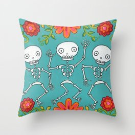 Dancing Skellys and Flowers Throw Pillow
