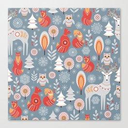Fairy forest, deer, owls, foxes. Decorative pattern in Scandinavian style. Folk art. Canvas Print