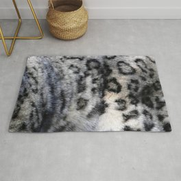 Snow Leopard Wild Cat Pattern Rug