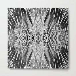 PRETTY BLACK & WHITE LINE PATTERN Metal Print