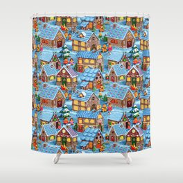 Gingerbread Village on Christmas Eve Shower Curtain