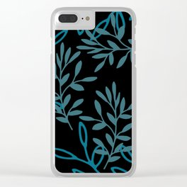 Leafy Teal Clear iPhone Case