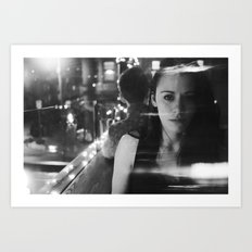 girl in restaurant Art Print