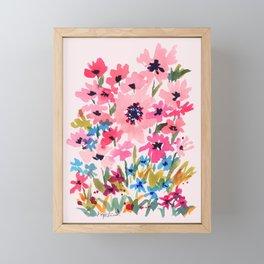 Peachy Wildflowers Framed Mini Art Print