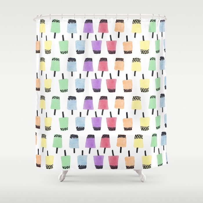 Rainbow Watercolor Bubble Tea Shower Curtain