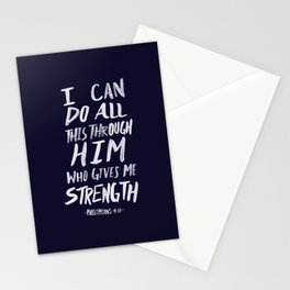Philippians 4: 13 x Navy Stationery Cards