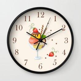 strawberry ice cream Wall Clock