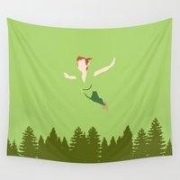 peter pan Wall Tapestries featuring PETER PAN by kattie flynn