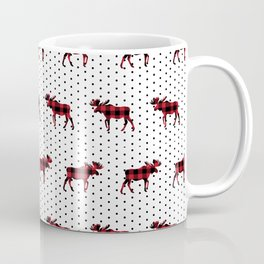 Moose Buffalo Plaid dots cute outdoors camping cabin chalet skiing northwest forest Coffee Mug