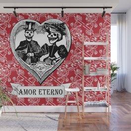 Amor Eterno | Eternal Love | Calavera Couple | Red | Black | Wall Mural