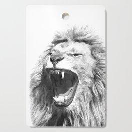 Black White Fierce Lion Cutting Board