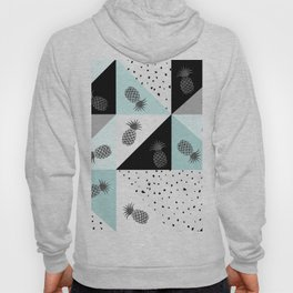 Teal black white dots pineapple geometrical color block Hoody