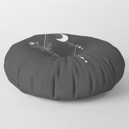 Flowers and Moon 1 Floor Pillow