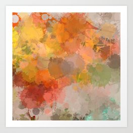 Modern contemporary Yellow Orange Abstract Art Print