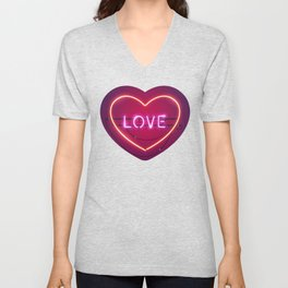Pink Love in the Heart Neon Sign Unisex V-Neck