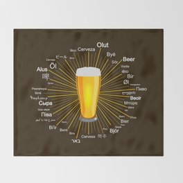 """""""Beer"""" in 45 different languages Throw Blanket"""