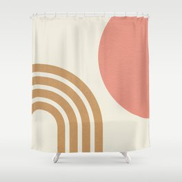 Mid century modern pink Sun & Rainbow Shower Curtain